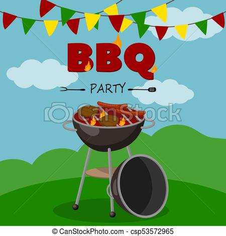 BBQ party banner, cartoon style poster, welcome invitation to barbecue  picnic vector Illustration.