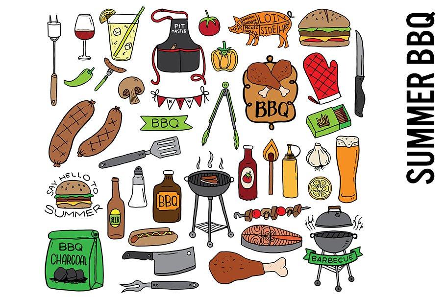 Summer BBQ Doodle Clipart.