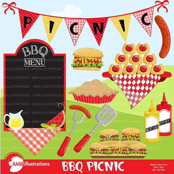 BBQ clipart, Picnic clipart, Barbecue clipart, Grill food.