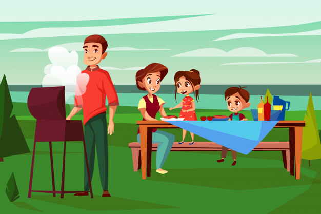 Family at barbecue picnic illustration. cartoon design of father man.
