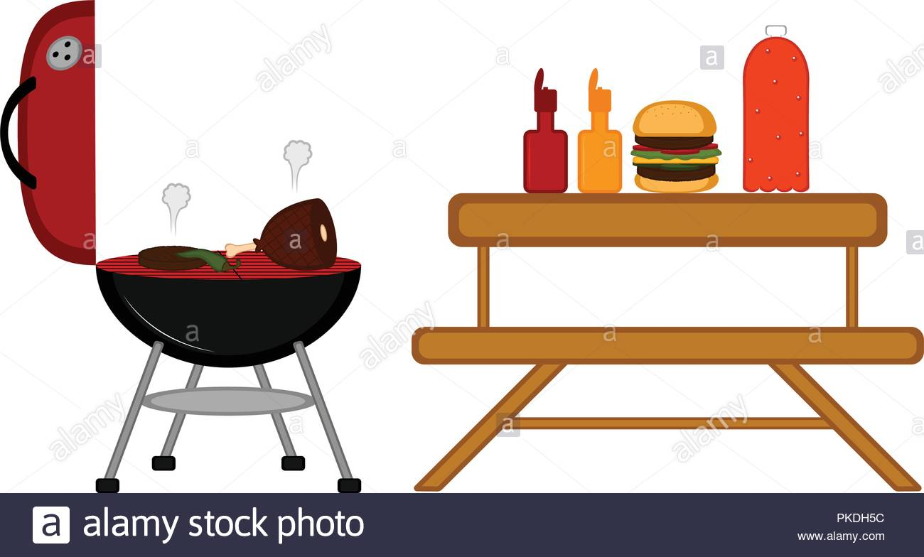 Barbecue grill and a picnic table. Vector illustration design Stock.