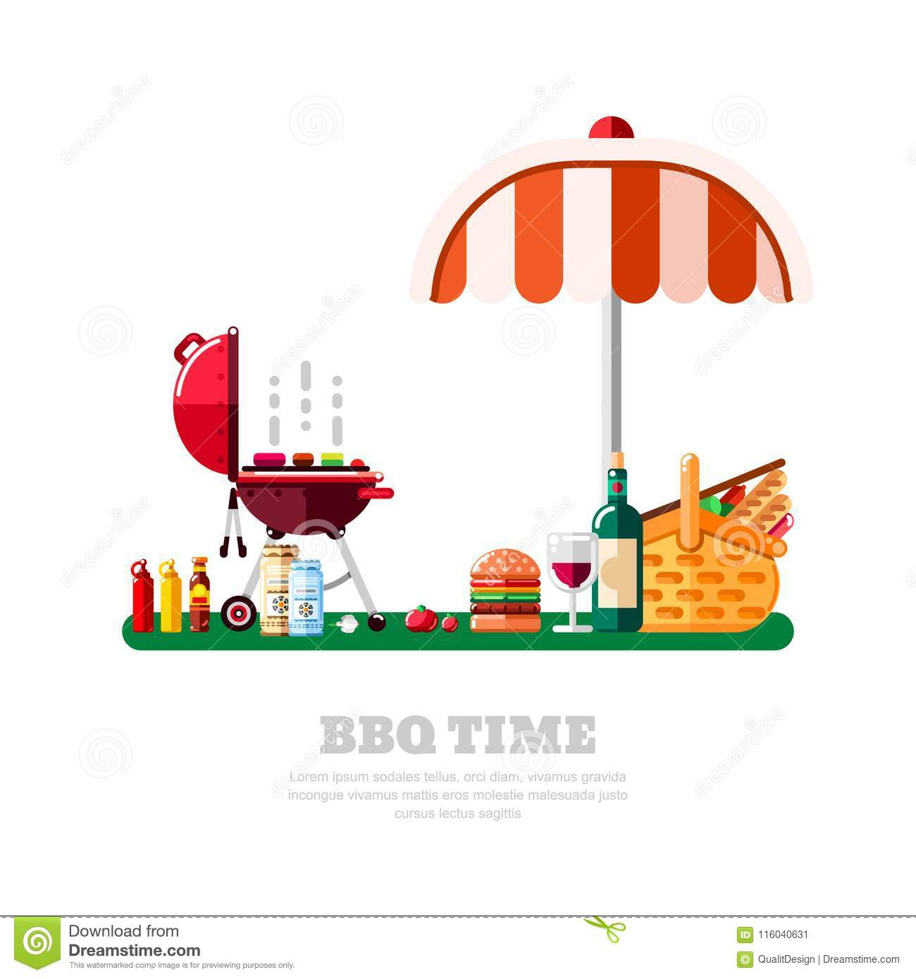 Summer Barbecue Picnic, Vector Flat Isolated Illustration. BBQ Grill.