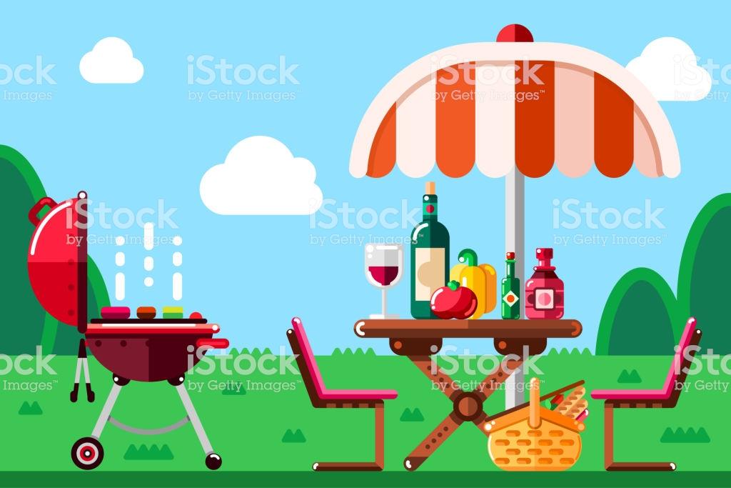 Summer Barbecue Picnic Vector Flat Illustration Bbq Grill Umbrella.