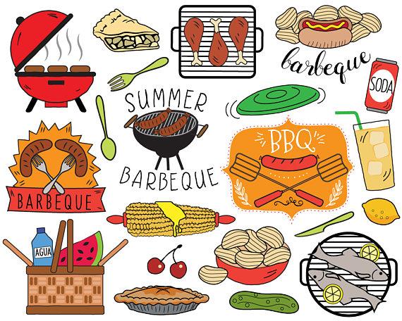 BBQ Clipart, summer barbecue clipart, picnic clip art, bbq.