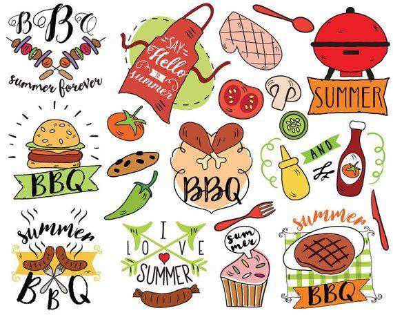 Summer BBQ Clipart, vector, barbecue clipart, summer doodle, picnic.