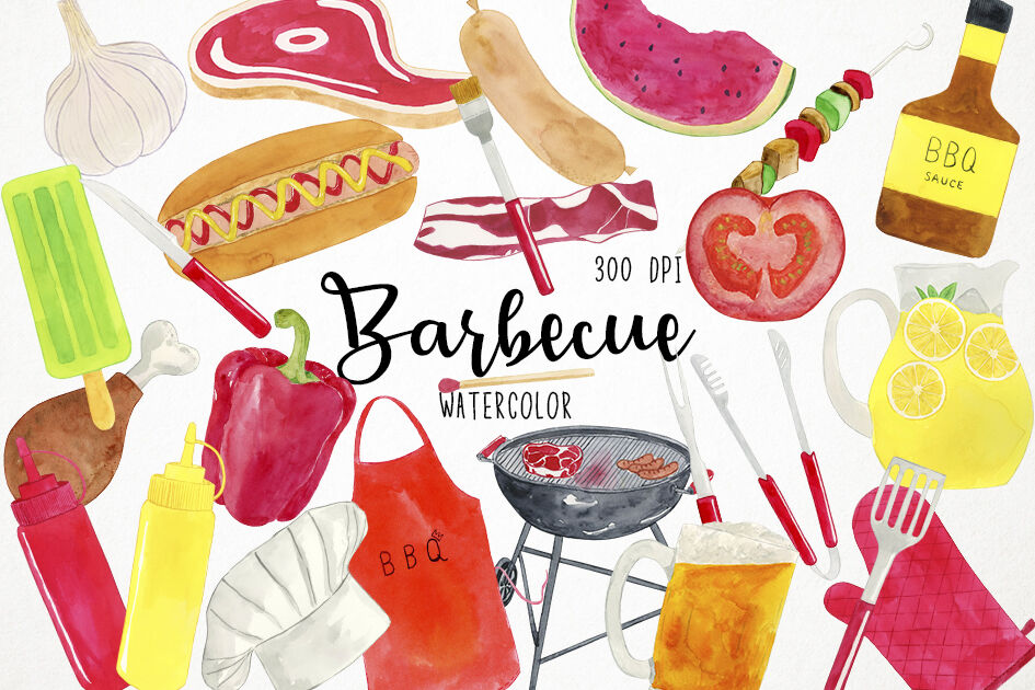 Watercolor BBQ Clipart, BBQ Clip Art, Barbecue Clipart, Barbecue.