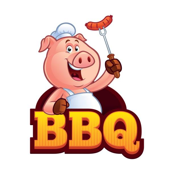 Best Cartoon Of The Bbq Pig Illustrations, Royalty.
