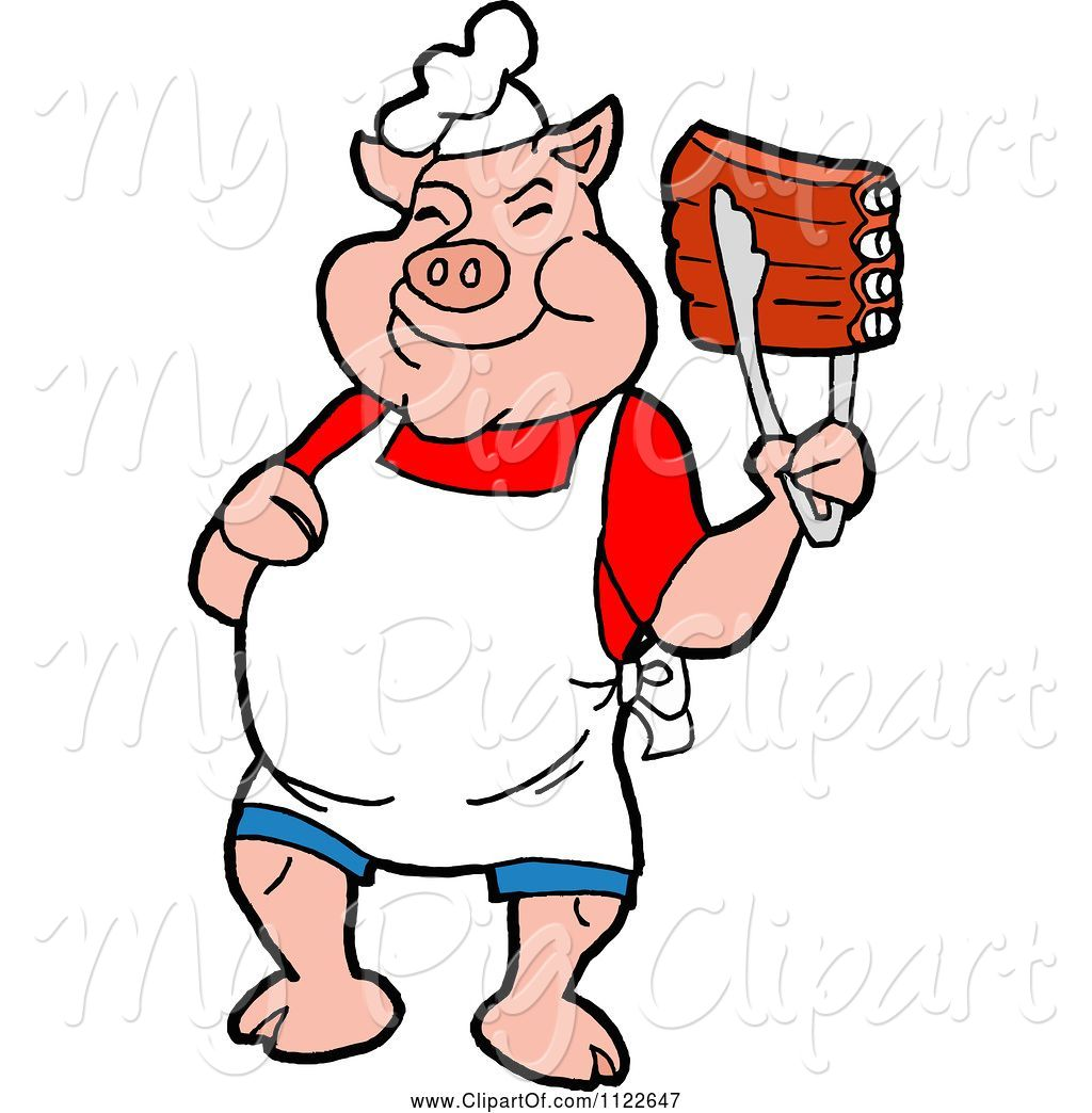 Swine Clipart of Cartoon BBQ Pig Chef Holding up Ribs with Tongs by.