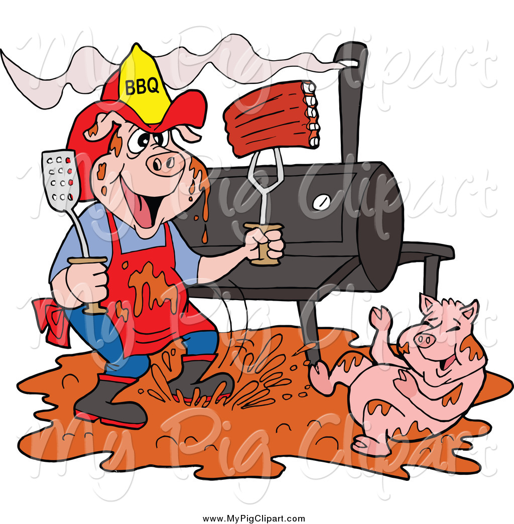 Swine Clipart of a Bbq Pig Firefighter with Ribs, Smoker and Puddle.