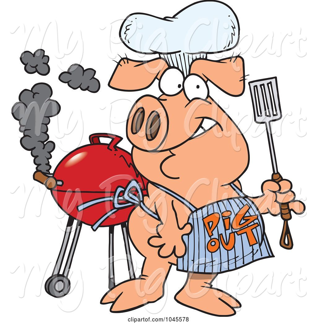 Swine Clipart of Cartoon Bbq Pig Wearing a Pig out Apron by toonaday.