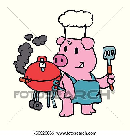Chef Pig standing and making BBQ Clipart.