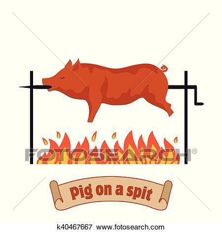 Grilled pig. Pig on spit. Roasting piglet. BBQ pork. Clip Art.