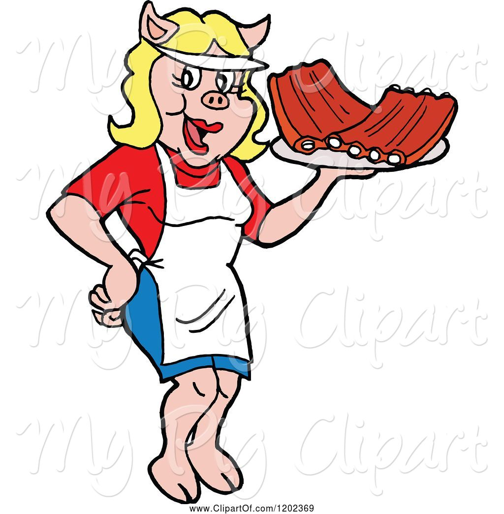 Swine Clipart of Happy Cartoon Pig Waitress Serving Bbq Ribs by.