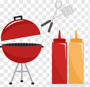 Black and red kettle grill illustration, Barbecue sauce.