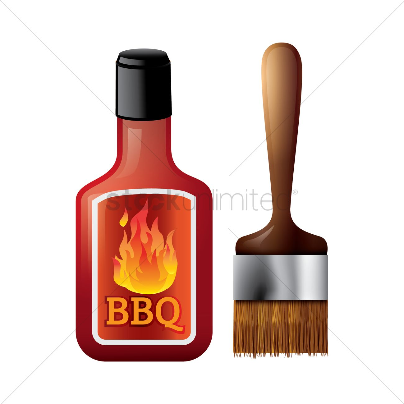 Bbq sauce bottle with brush Vector Image.