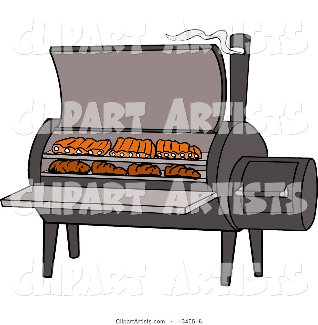 Cartoon Bbq Smoker with Ribs and Steaks Clipart by LaffToon.
