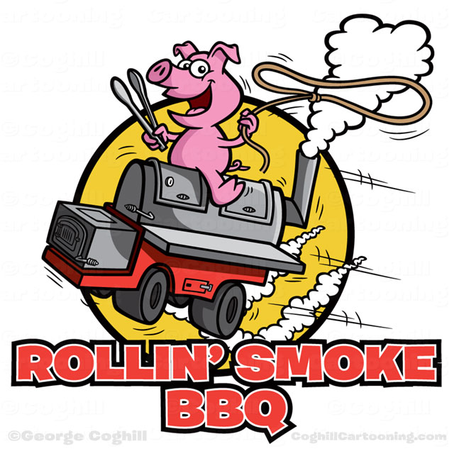 Pig riding BBQ smoker grill.