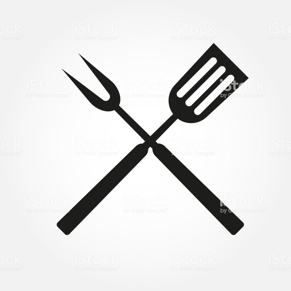 Bbq Or Grill Tools Icon Crossed Barbecue Fork With Spatula Vector.
