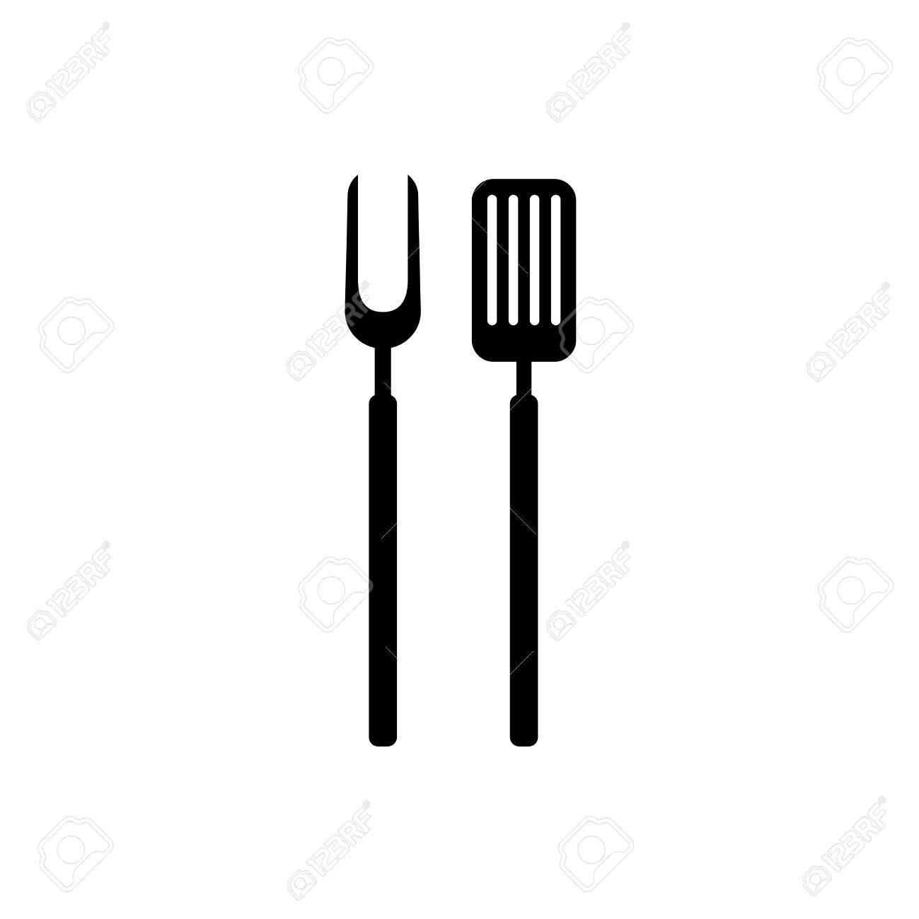 BBQ barbeque tools black simple silhouette. Meat fork with spatu.