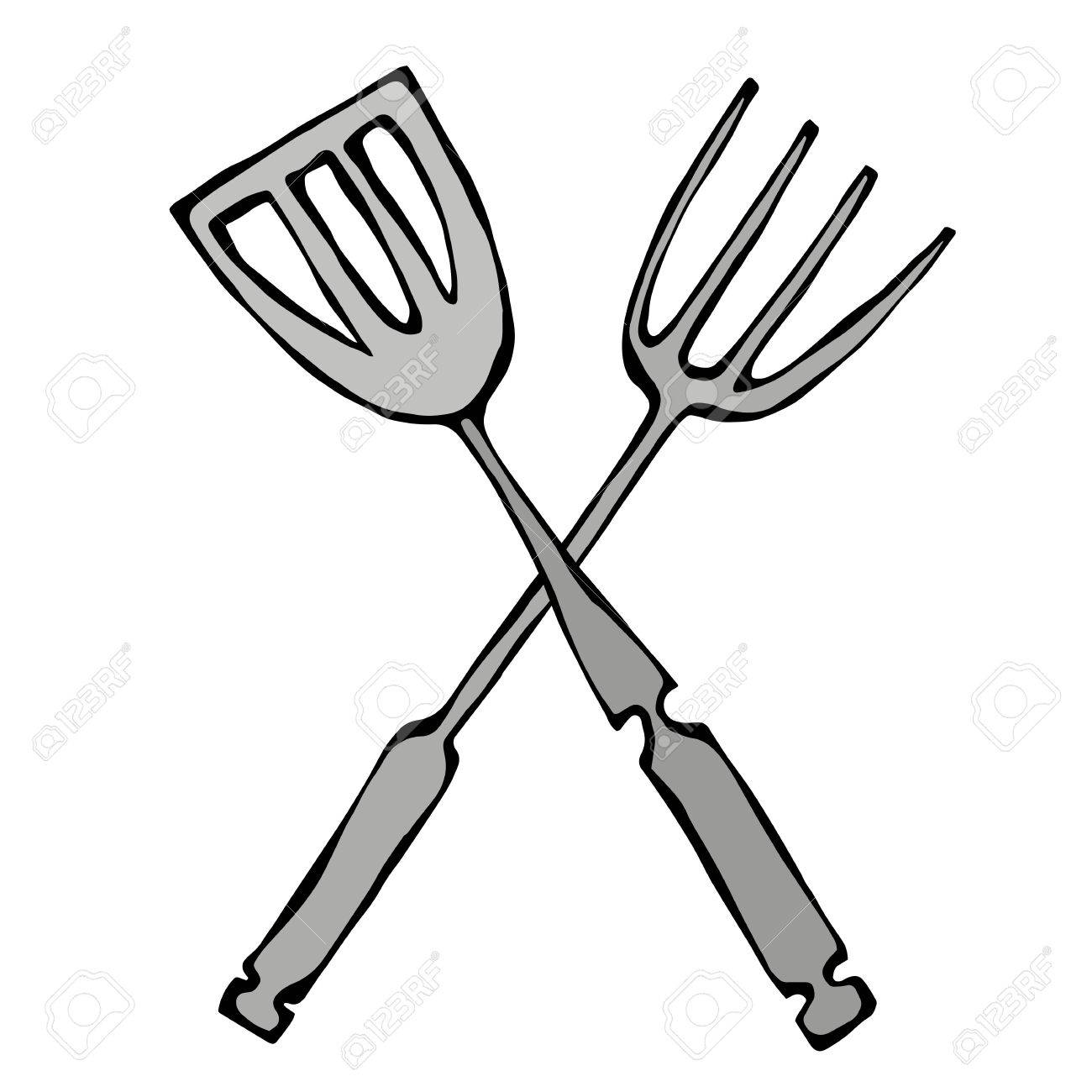 BBQ or Grill Tools Icon. Crossed Barbecue Fork with Spatula.
