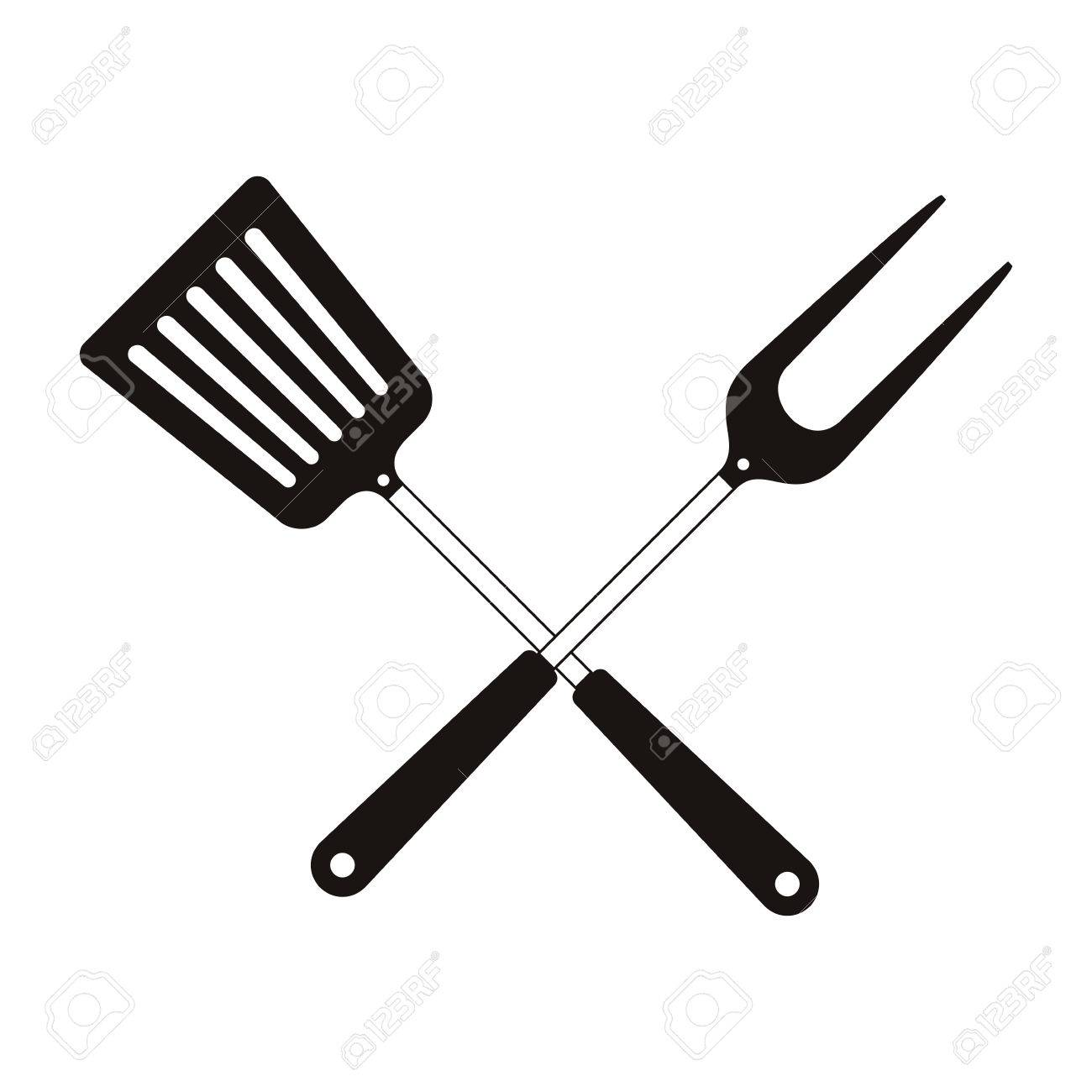 turner and fork crossed bbq cooking utensils icon. Steak house...