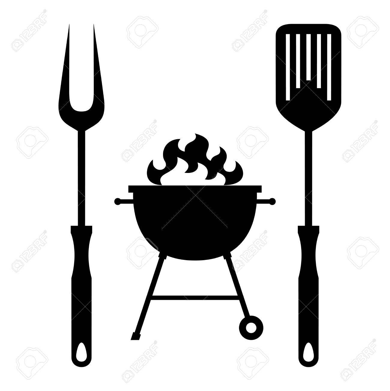 BBQ or grill tools icon in flat design. Sign barbecue tools and...