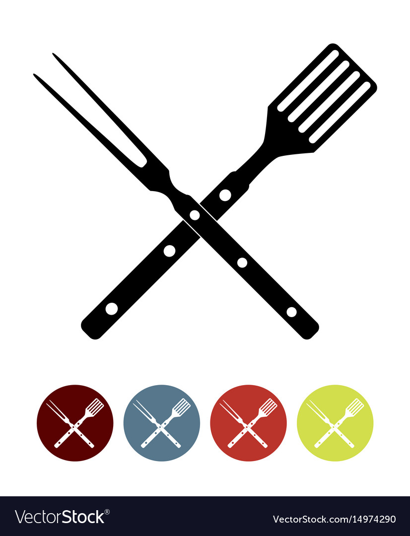 Bbq icon with grill tools.