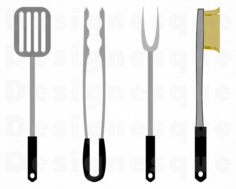 BBQ Utensils Svg, BBQ Svg, Spatula Svg, Tongs Svg, BBQ Utensils Clipart,  Files for Cricut, Cut Files For Silhouette, Dxf, Png, Eps, Vector.