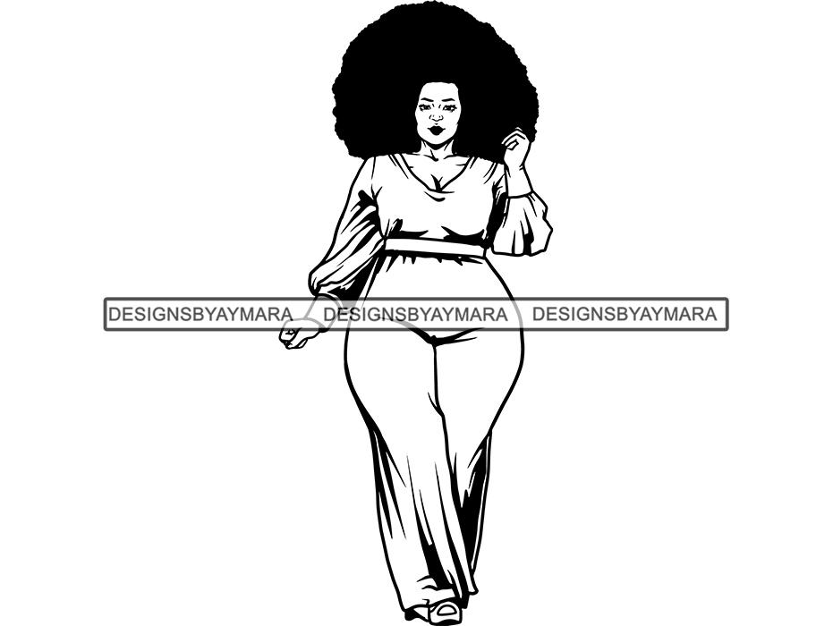 Thick Woman SVG BBW Big And Bougie Sexy African American Ethnicity Queen  Diva Classy Lady .SVG .EPS .PNG Vector Clipart Cricut Circuit Cut Cutting.