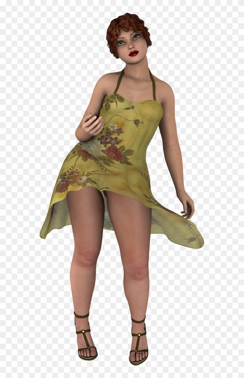 Bbw Summer Girl Fashion Png Image.