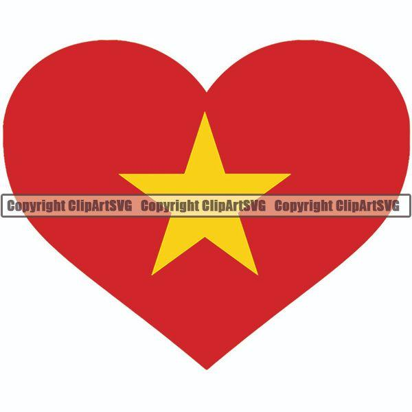 Country Flag Heart Vietnam ClipArt SVG.