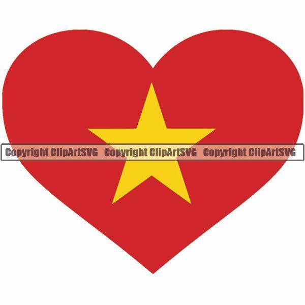 Country Flag Heart Vietnam ClipArt SVG.
