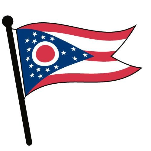 Ohio Waving Flag Clip Art.
