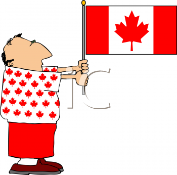 Royalty Free Clipart Image of a Man Holding a Canadian Flag.