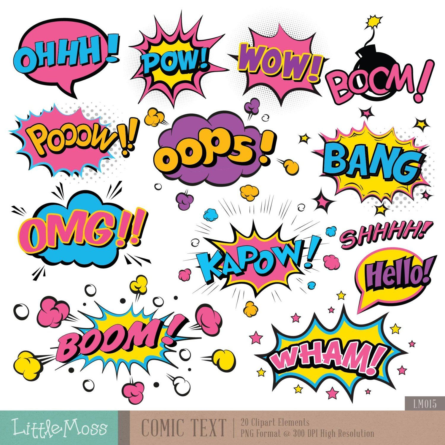 Comic Text Digital Clipart, Superhero Text Clipart, Superheroes Pop.