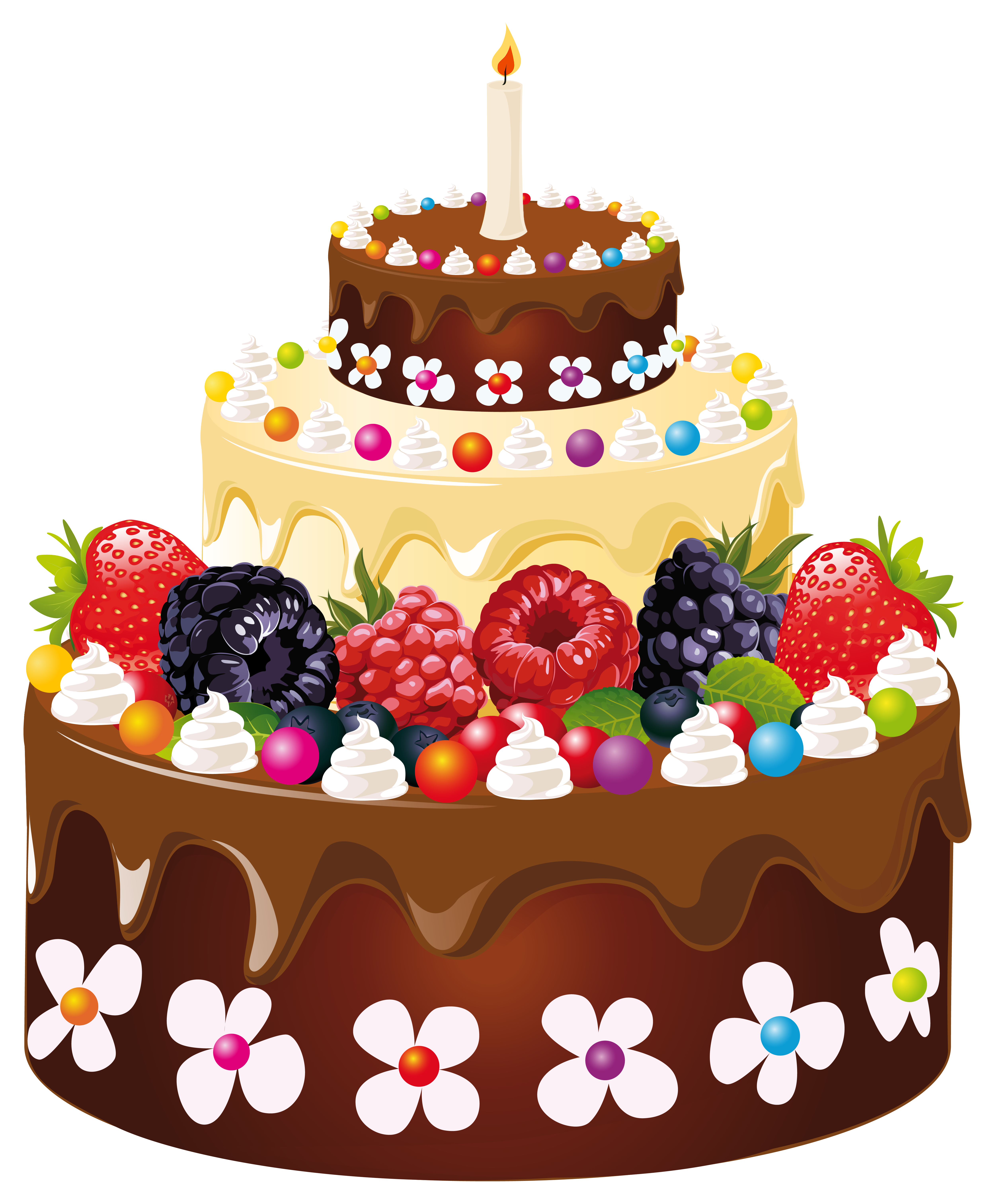 Birthday Cake with Candle PNG Clipart Image.