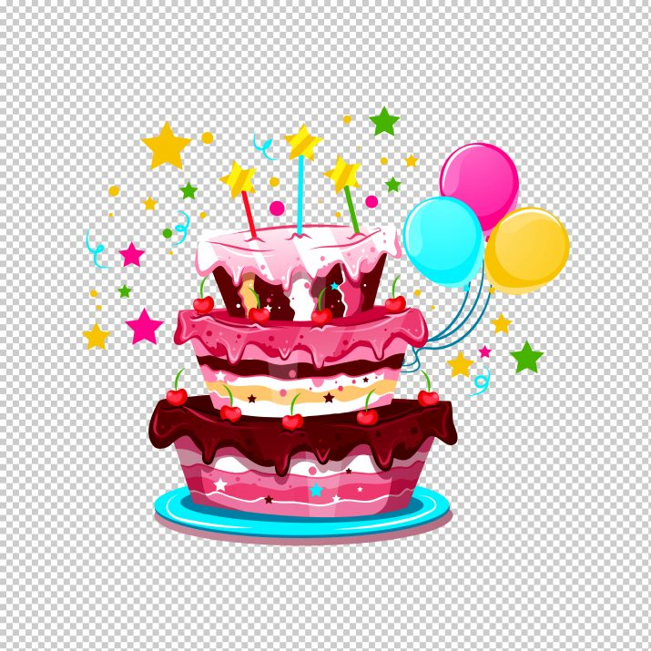 Birthday Cake And Balloons PNG.