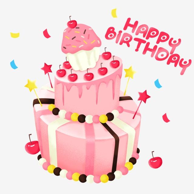 Pink Birthday Cake Png Material, Pink Cake, Birthday Cake, Cake PNG.