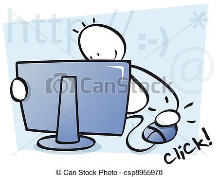Stock Illustration of funny kid internet browsing.