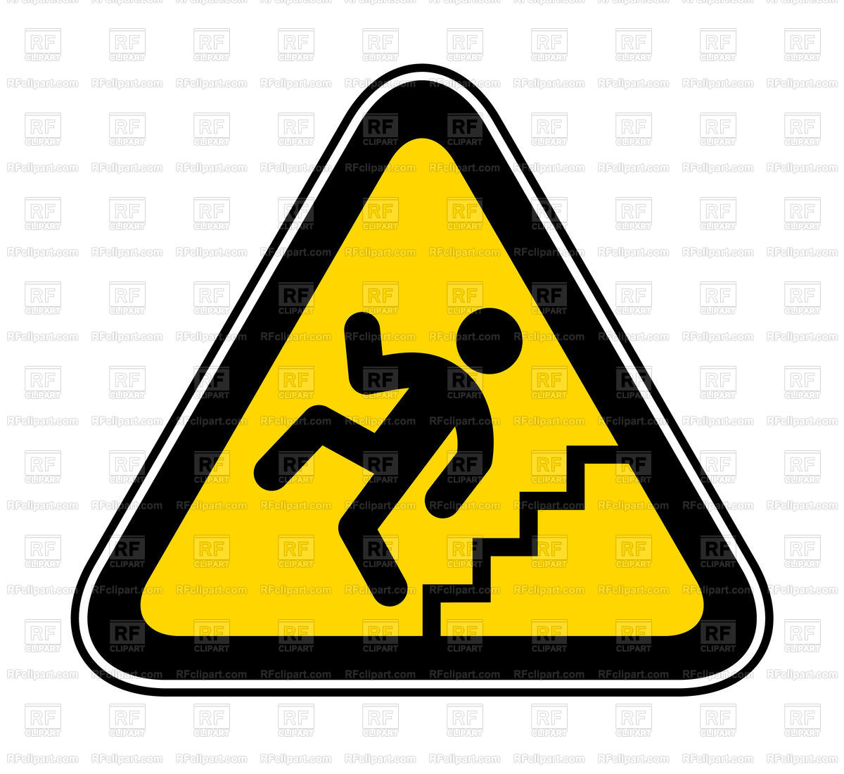 Be careful on the stairs sign Stock Vector Image.