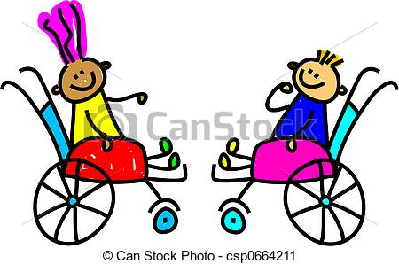 Clipart of disabled kids.