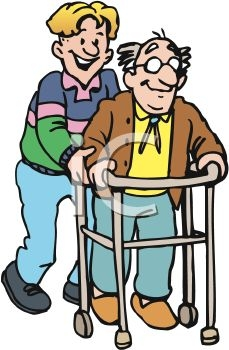 Disabled elderly people clipart.