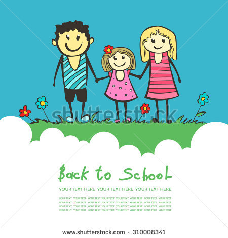 Clipart Of Happy Parents With Child Doing Good In School.