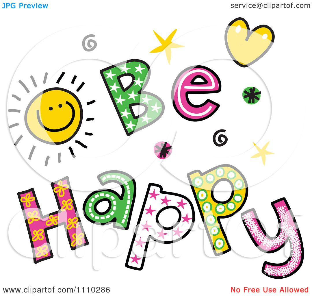 Clipart Colorful Sketched Be Happy Text.