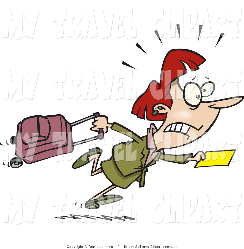 Clipart of a Woman in a Hurry to Catch Her Flight at the.