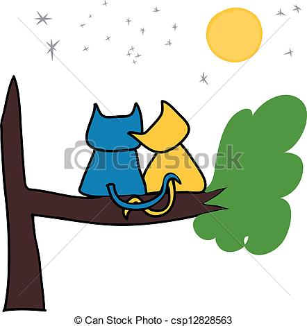 Cats in love clipart.