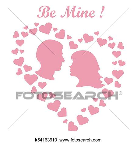 Men and women in hearts. Be Mine. Valentine's Day Clipart.