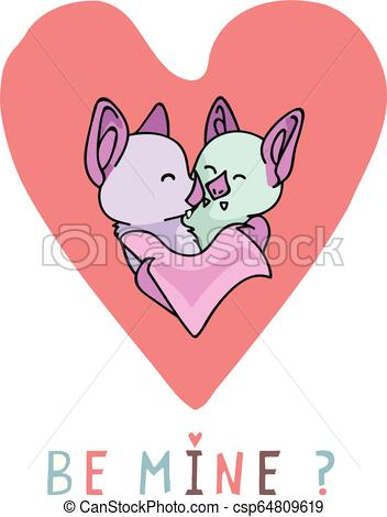 Vector coral bat hug heart with be mine text.