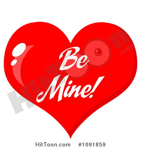 Valentine Clipart #1091859: Shiny Red Be Mine Valentine.