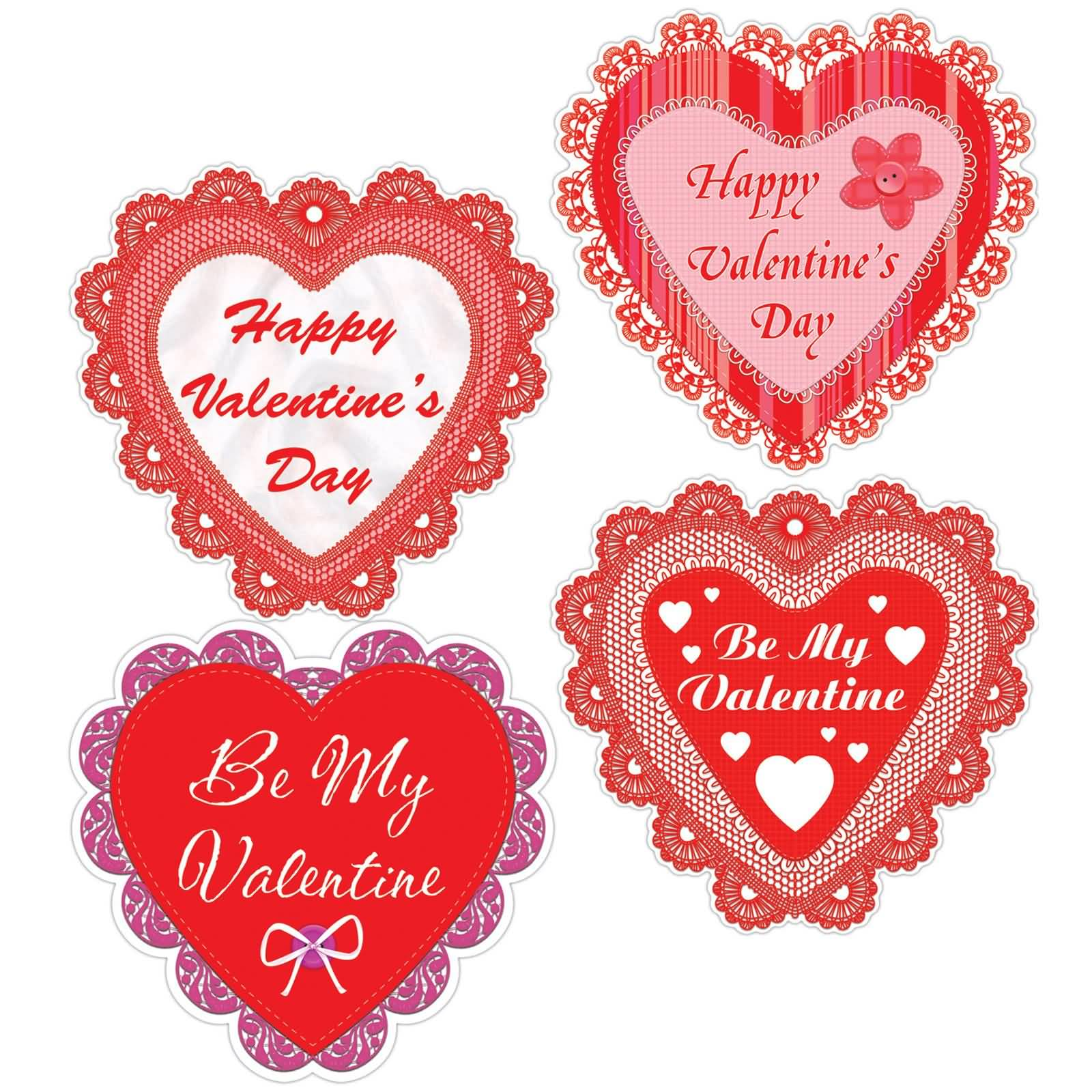 Happy Valentine\'s Day Be My Valentine Hearts Clipart.